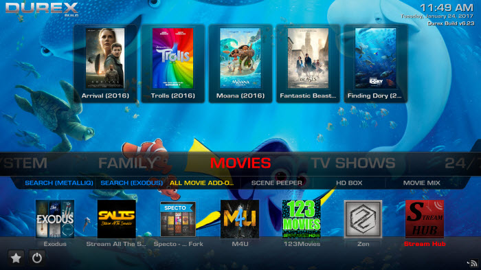 how to install the durex build on kodi 17.6 krypton