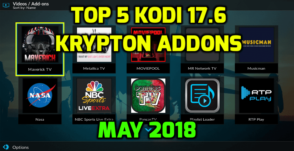 Best Kodi 17.6 Krypton Addons May 2018