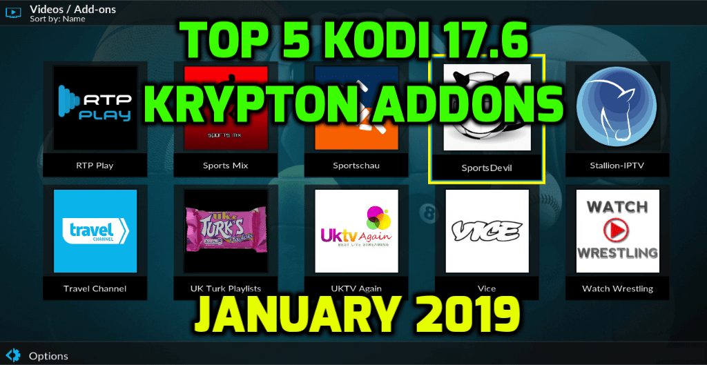 Best Kodi 17.6 Krypton Addons January 2019